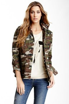 Camo Print Military Jacket by Willow & Clay on @HauteLook