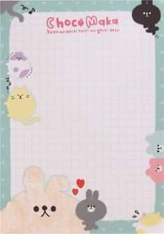 cute animal memo pad from Japan with little rabbits and colorful paper sheets