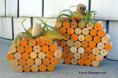 Pumpkins made from wine corks