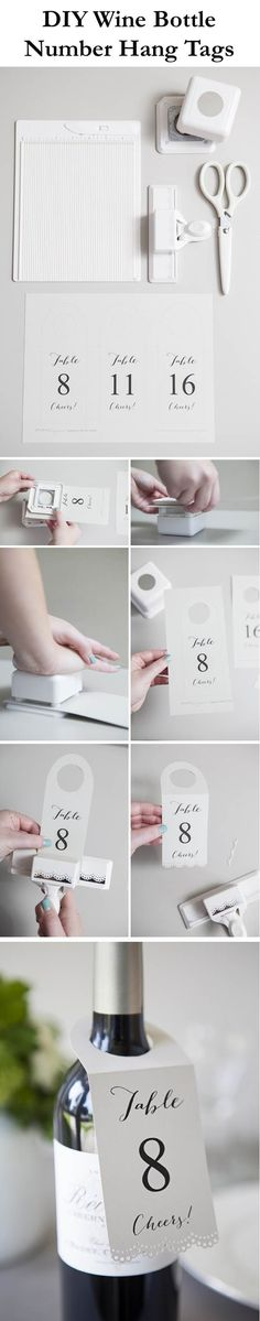 How to make FREE wine bottle table number – hang tags!   DIY Fun Tips