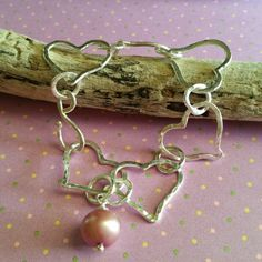 Fine Silver Heart Bracelet w/Pearl  Custom Orders by Panache808Designs