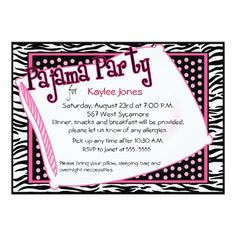Pajama Party In Black and Pink Dots 5x7 Paper Invitation Card