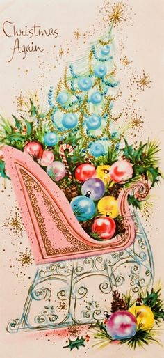 Retro Christmas Sleigh Card in Pastels Merry Christmas, Christmas Scenes, Winter Christmas, Christmas Holidays, Christmas Crafts, Pink Christmas, Xmas, Vintage Christmas Images, Vintage Holiday