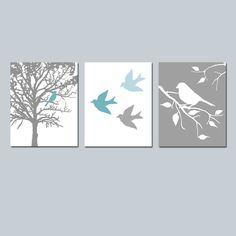 Wall Art - Modern Bird Trio - Set of Three 8x10 Prints - Modern Nursery - Choose Your Colors - Shown in Teal Blue, Baby Blue, White, Gray. $55.00, via Etsy.