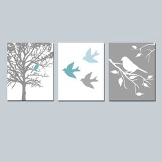 Wall Art - Modern Bird Trio - Set of Three 8x10 Prints - Modern Nursery - Choose Your Colors - Shown in Teal Blue, Baby Blue, White, Gray. $55.00, via Etsy.