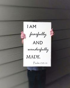 Psalm 139:14 I Am Fearfully Wonderfully Made Handmade Decorative Sign-Christian Wall Hanging on Etsy, $35.00