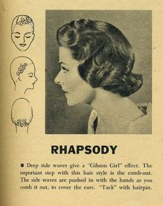 "Hairstyle: ""Rhapsody"" hair setting pattern by the Toni Company/ Vintage Hair/ Hair Tutorial/ Hair 1950s Hairstyles, Curled Hairstyles, Trendy Hairstyles, 1930s Hair, Vintage Curls, Vintage Waves, Vintage Hairstyles Tutorial, Retro Updo, Hair Patterns"