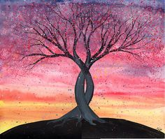Easy Watercolor Paintings Of Sunsets Entwined - original watercolor