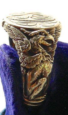 A 14K Art Nouveau Man's Figural Griffin Signet Ring Circa 1900 Signed Carter, Howe & Co.