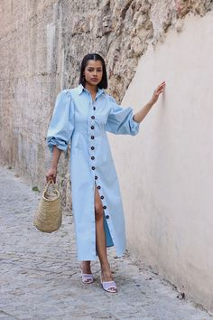 Cotton Dresses, Blue Dresses, Street Hijab Fashion, Cool Outfits, Fashion Outfits, Zara Fashion, Casual Summer Dresses, Boutique, Dame