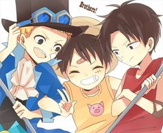 Tags: ONE PIECE, Monkey D. Luffy, Portgas D. Ace, Goggles, V Gesture, ^ ^
