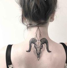 ram skull tattoo on neck nape