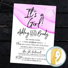 Watercolor Baby Shower Invitation // It's A Girl Baby Shower Invitation // Pink White Watercolor Baby Shower Invitation // Minimalistic Baby Shower Invitation // Minimal Baby Shower Invite // Modern and Simple Baby Shower Invitation by socalcrafty on Etsy. Printed on card stock or printable DIY. $16+