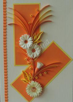 přání oranžové s kopretinami