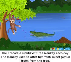 The Crocodile and The Monkey Moral Story with Pictures for Kids in English. English Stories For Kids, English Worksheets For Kids, Short Stories For Kids, English Story, Easy Cartoon Drawings, Easy Drawings, Republic Day Speech, Picture Story For Kids, Kids Story Books