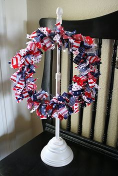 Rag wreath for the 4th, but you could make one for any holiday or occasion!