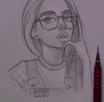 Wat - Day by AngelGanev. on Wat - Day by AngelGanev. Girl Drawing Sketches, Girly Drawings, Cool Art Drawings, Pencil Art Drawings, Amazing Drawings, Easy Drawings, Drawing Faces, Tumblr Drawings, Drawing Girls