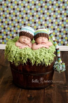 Identical twin newborn boys green, blue, and brown | Bella Rose Portraits Newborn Photographer  #twins