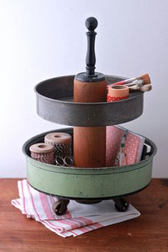 2 Tier Desk Supply Organizer Caddy from Repurposed Materials.
