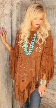 Suede Fringe Poncho - The Lace Cactus