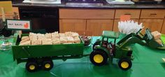 Rice crispies as Hay bales in a john deer tractor for farm/tractor theme party!