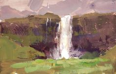 "Tad Retz, ""The Seljalandsfoss Waterfall"" Gouache on watercolor paper. 5.5x9 inches."