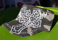 Check out this item in my Etsy shop https://www.etsy.com/listing/503590983/new-custom-camo-cross-cap-with-bling
