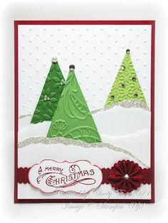 Papercraft cards for Christmas. Homemade Christmas Cards, Christmas Cards To Make, Xmas Cards, Homemade Cards, Handmade Christmas, Holiday Cards, Christmas Trees, Merry Christmas, Christmas Wrapping