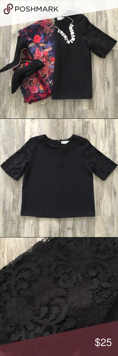 LOFT Classic Black Top with Lace Sleeves Versatile and classic top featuring lace sleeves. Excellent used condition. LOFT Tops Blouses