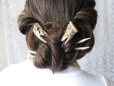 Hair Forks Deer Antler Hair Sticks Set of Two Unusual Taxidermy Hair Accessory. $128.00, via Etsy.