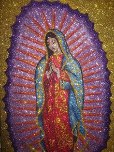Glitter Virgen de Guadalupe Painting
