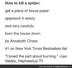 How to Kill A Spider - on New York's Bestselling List by Annabeth Chase, approved by Leo Valdez of Hephaestus TV.<<<<lol or just call ur super hunky and fearless bf named Percy Jackson Percy Jackson Fan Art, Percy Jackson Memes, Percy Jackson Books, Percy Jackson Fandom, Percabeth, Solangelo Fanart, Hunger Games, Dibujos Percy Jackson, Annabeth Chase