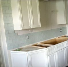 The Cabinets Are White Dove By Benjamin Moore, And We Are Using A Matte, · Subway  Tile KitchenGlass ...