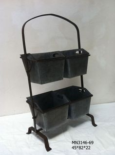 Homewares Vege Bucket Galvanised iron 45cmwide 73cmH