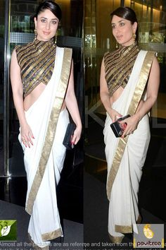 Pavitraa #White, Golden and #Black Bollywood #Sarees Rs 1213.2