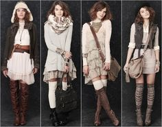 Love these comfy,flirty looks..knee highs and flounce with boots!