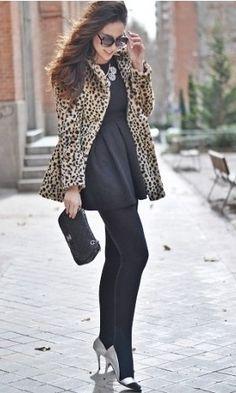 1. Leopard Faux Fur Coat  2. Black Dress  3. Black Stockings  4. Silver Heels and Accessories