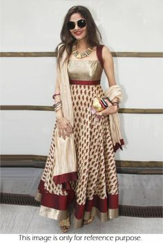 This Exclusive Anarkali Suit Is An Ultimate Party Wear Collection With The Mesmerizing Colours Of Beige With The Artistic Embroidery,Resham Work,Printed , Leave No Stone Unturned And Be At Your Fashio...