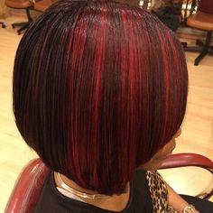 Red-Lights Best Bob Hairstyles for Black Women Pictures in 2019 - Frauen Haar Modelle Black Bob Hairstyles, Sleek Hairstyles, Straight Hairstyles, 1960s Hairstyles, Doll Hairstyles, Hairstyles Pictures, Hairstyles Videos, Dark Burgundy Hair Color, Short Blonde Bobs