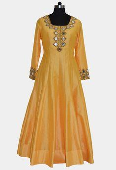 Readymade #Yellow #Silk #Anarkali Kameez  #nikvik #kameez #usa #designer #australia #silk #bridal #wedding
