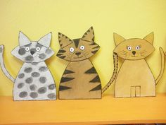 Kočky z kartonu Animal Art Projects, Animal Crafts For Kids, Animals For Kids, Art For Kids, Art From Recycled Materials, Illustration, Cat Cards, Preschool Art, Small Quilts