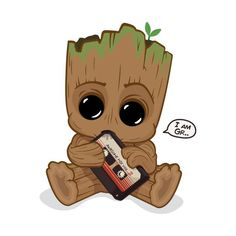 Shop I am GROOT groot t-shirts designed by SlamHm as well as other groot merchandise at TeePublic. Cute Disney Drawings, Cute Cartoon Drawings, Cute Animal Drawings, Cartoon Wallpaper Iphone, Cute Disney Wallpaper, Cute Cartoon Wallpapers, Marvel Wallpaper, Kawaii Disney, Disney Art