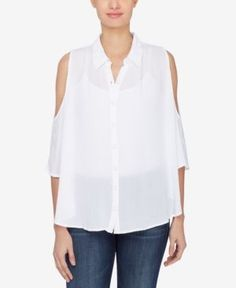 Catherine Catherine Malandrino Cold-Shoulder Shirt - White XL