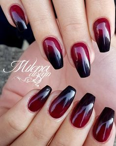Nageldesign Black red nails - nails - Wedding Favor Ideas: Tips For Almond Nails Red, Black Ombre Nails, Short Almond Nails, Dark Red Nails, Nail Black, Black Nail Designs, Short Nail Designs, Nail Art Designs, Nails Design
