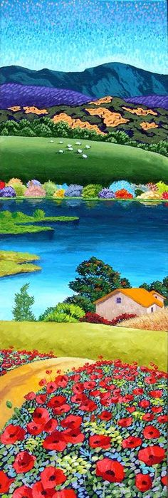 Gene Brown Lakeside Cottage - Southwest Gallery: Not Just Southwest Art. Landscape Quilts, Abstract Landscape, Landscape Paintings, Cottage Art, Southwest Art, Naive Art, Painting Inspiration, Beautiful Paintings, Folk Art