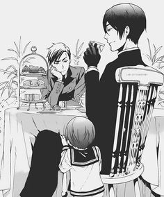 WOOK AT WITTLE CIEL HE'S SO CUUUUUUUTE!!!!!! :> -cj  Vincent and young Ciel Phantomhive - Black Butler - Kuroshitsuji