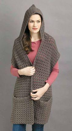 Hooded Scarf Pattern, Crochet Hooded Scarf, Crochet Cardigan, Crochet Scarves, Crochet Clothes, Knit Crochet, Double Crochet, Crochet Stitches, Crochet Wrap Pattern