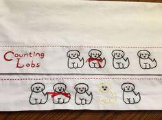 Counting Labrador Retrievers Pillowcase set Hand by AnniesUPAttic