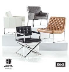 Club Collection by Sunpan   A modern twist on classic furniture design. #interiordesign