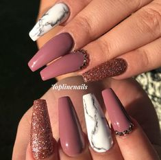 Marble Nails. Nails With Rhinestones. Glitter Nails. Acrylic Nails.